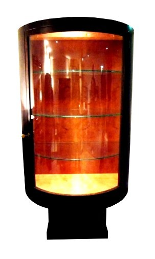 Art Deco Curved Glass Front Display Cabinet with Madrona interior