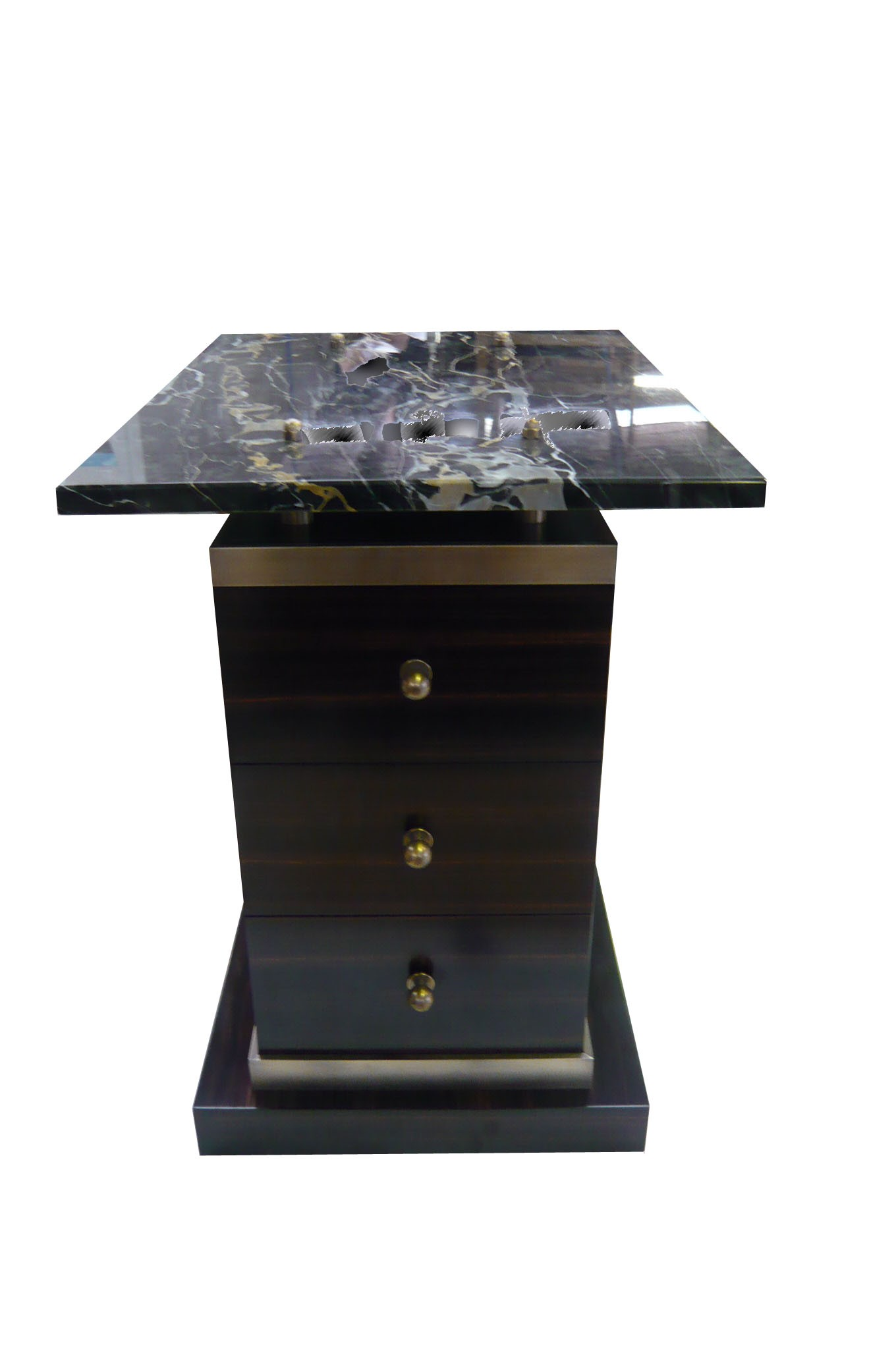 Side table with Portoro Marble top and Bronze detail