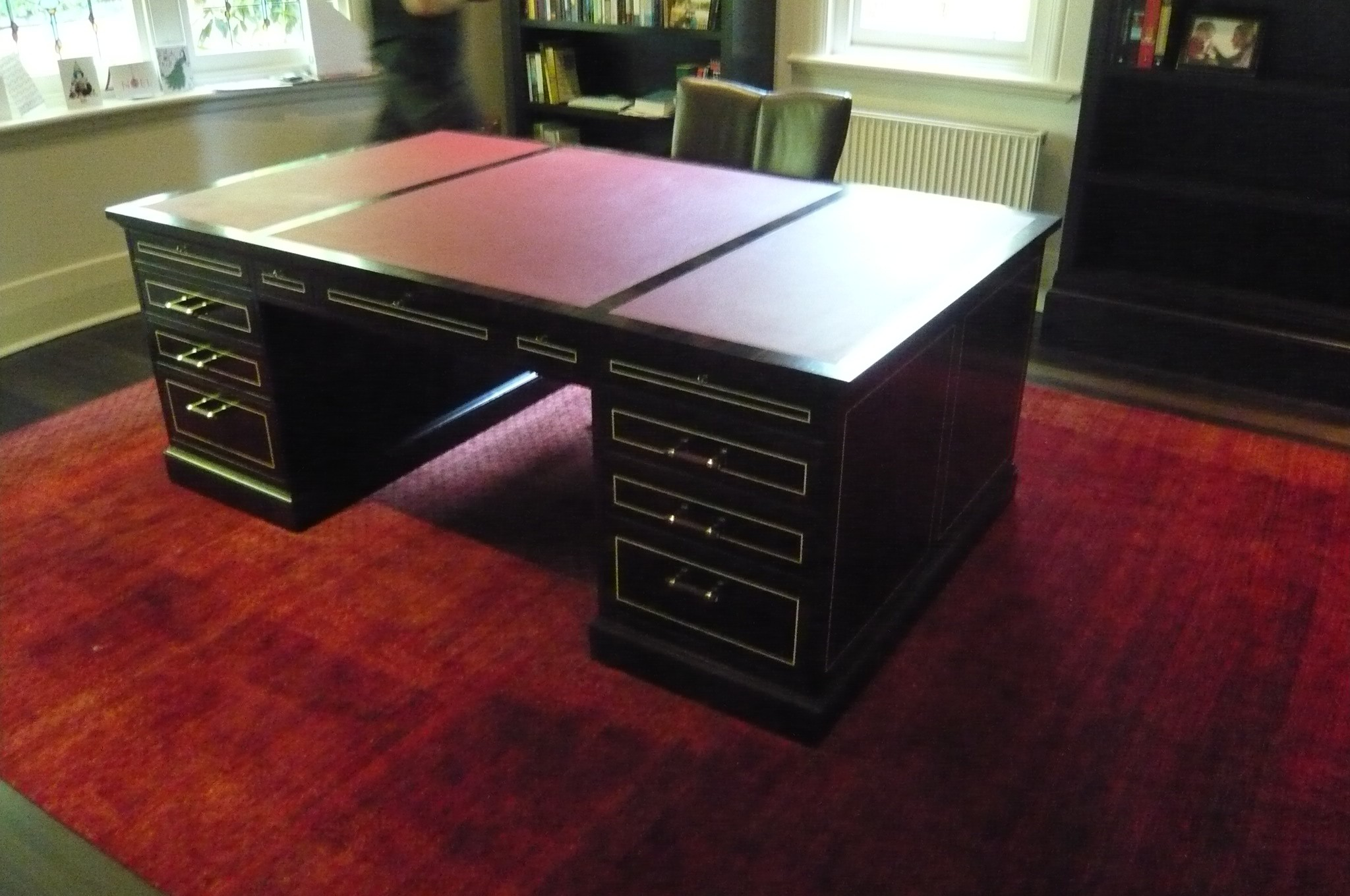 Leather Top Desk with Ivory Inlay and Handles